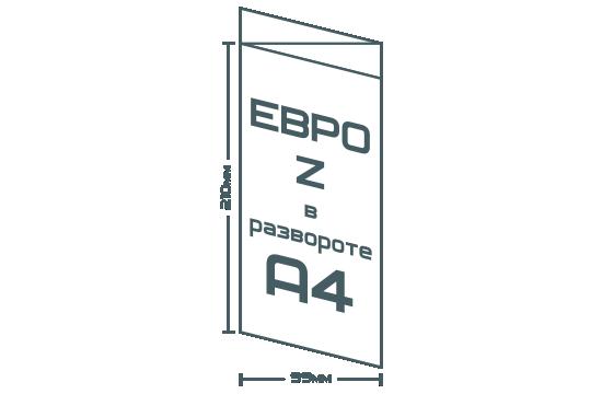 Евробуклет Z (99х210мм, в развороте А4)